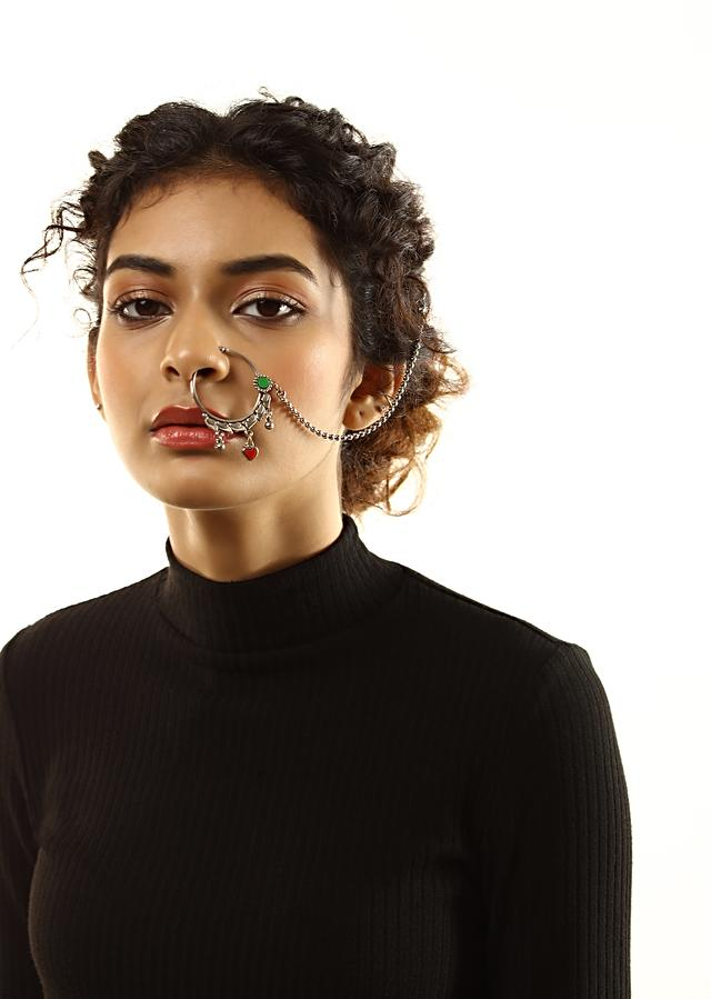 Oxidised Nose Ring With Green Stone And Red Heart Charm By Kohar