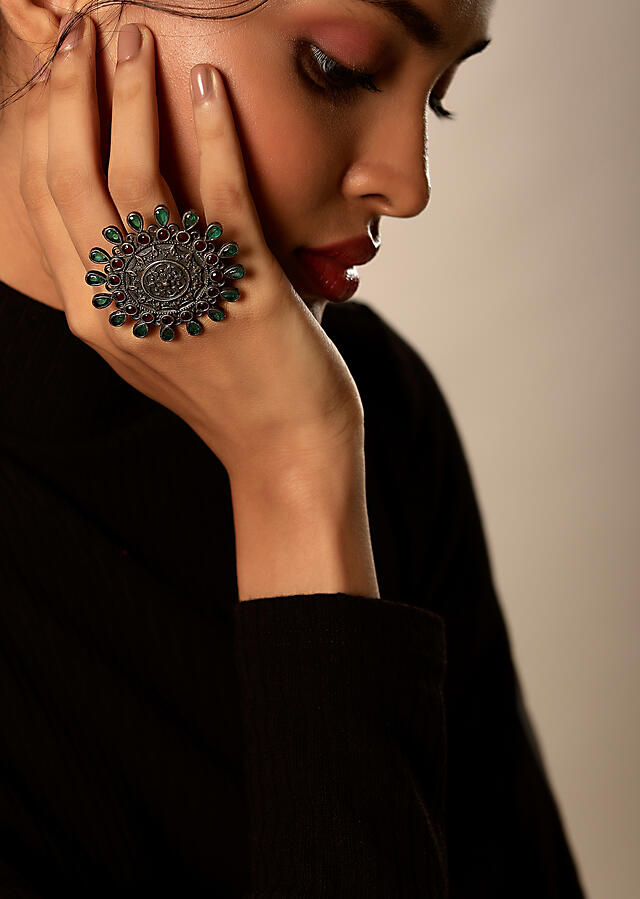 Oxidised Ring In Floral Motif Studded With Green And Purple Stones By Kohar