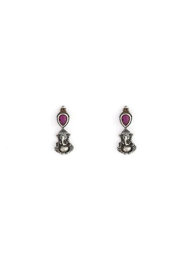Oxidised Temple Necklace And Earrings Set With Embellished In Magenta Stones And Alternating Gold Polished Lord Ganesha By Kohar