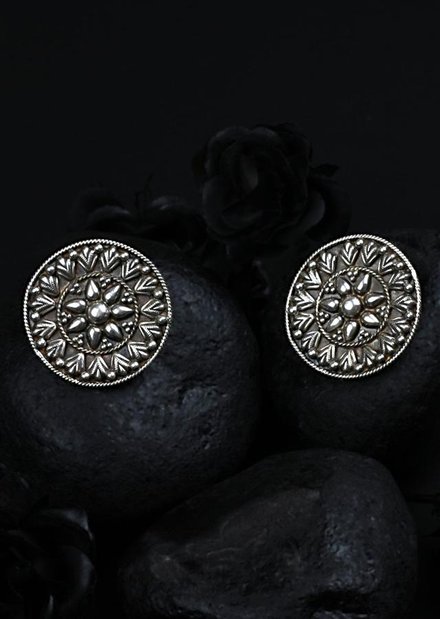Oxidised Silver Designer Studs Hand Crafted In Carved Floral Pattern Made In Sterling Silver By Sangeeta Boochra