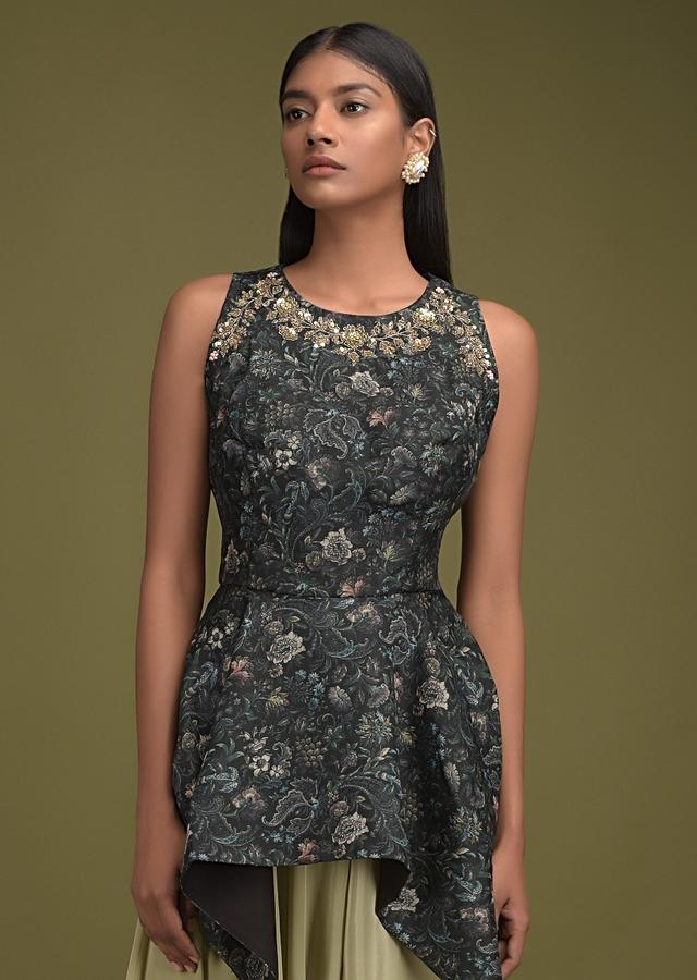 Oyster Beige Low Crotch Dhoti Bottoms And Black Peplum Top With Floral Print And Handkerchief Hem Online - Kalki Fashion