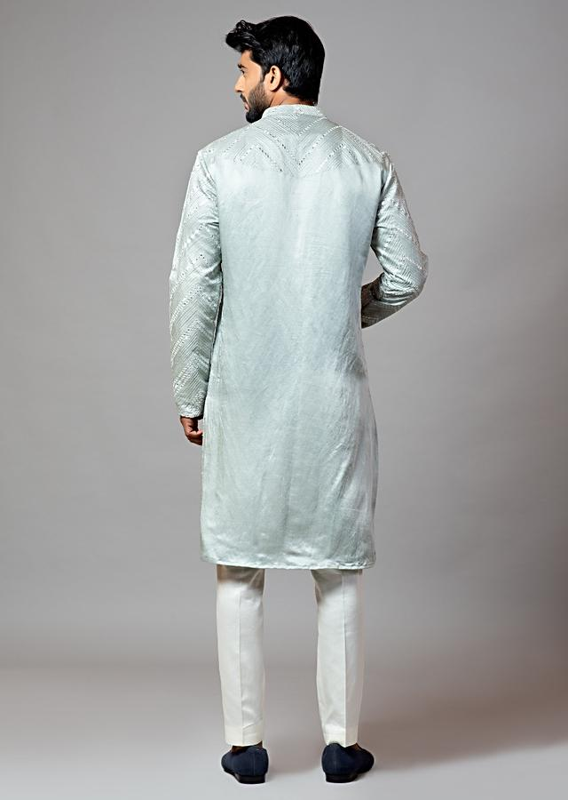 Oyster Green Kurta In Linen Satin With Mirror Work By Smriti Apparels