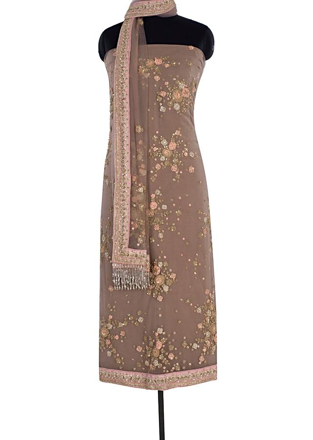 Pale Brown Unstitched Suit In Hard Net With Embroidered Butti Online - Kalki Fashion