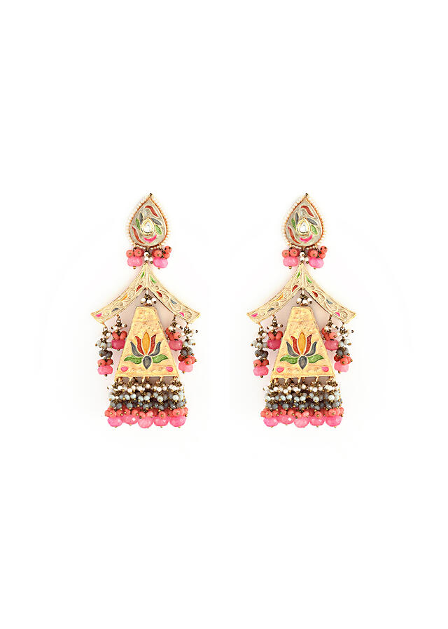 Pale Gold Jhumkas With Enamelled Lotus Motifs Along Multi Colored Bead Fringes By Kohar