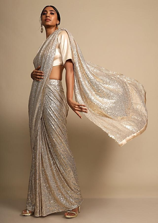 Pale Gold Saree In Shimmer Sequins Fabric With Ready Stitched Peats Online - Kalki Fashion