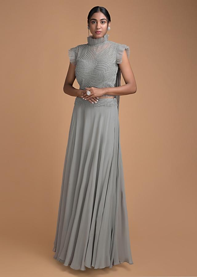 Pale Grey Skirt Featuring in Georgette With Blouse in Self Cut Dana Embroidery Online - Kalki Fashion