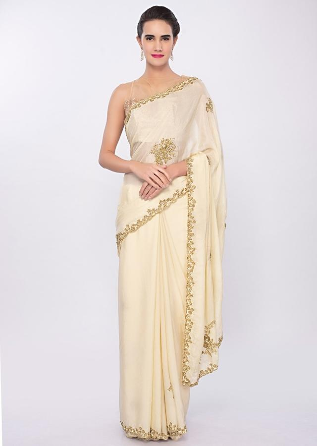 Pale Lemon Yellow Saree In Chiffon With Cut Dana And Sequins Embroidered Butti And Border Online - Kalki Fashion