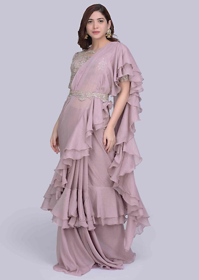 Pale Lilac Ready Pleated Saree In Georgette With Frilled Hem And Pallo Online - Kalki Fashion