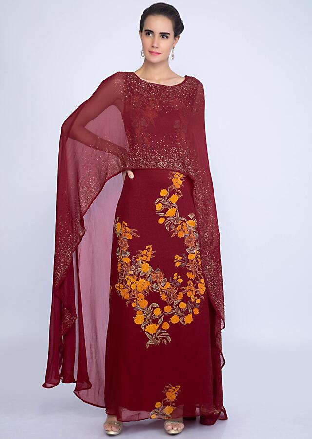 Pale Maroon Tunic Dress With Floral Print And Attached Cape Online - Kalki Fashion