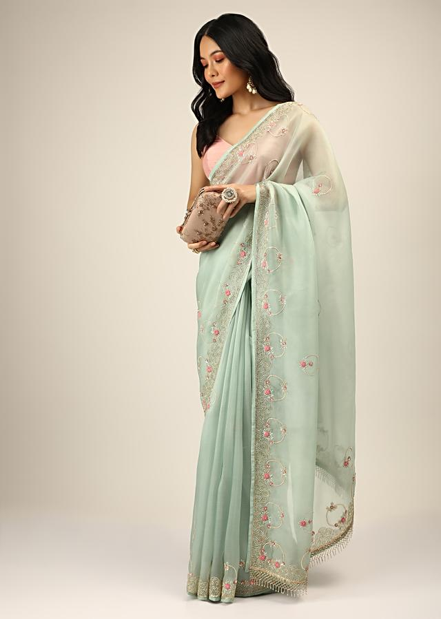 Pale Mint Saree In Organza With Multi Colored Resham And Cut Dana Embroidered Filigree And Floral Motifs On The Border And Buttis Online - Kalki Fashion