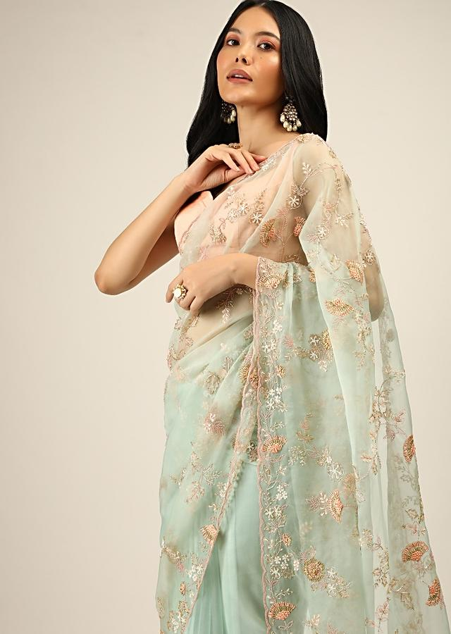 Pale Mint Saree In Organza With Multi Colored Resham Embroidered Flowers And Pink Moti Bead Accents Online - Kalki Fashion