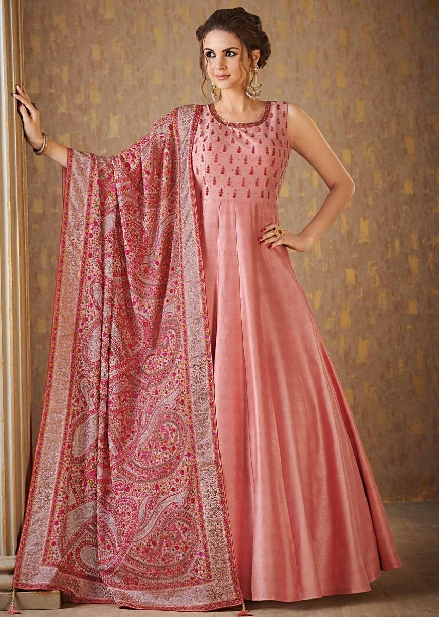278dde2d59 Pale peach anarkali suit in raw silk with Kashmiri thread embroidery in  paisley motif