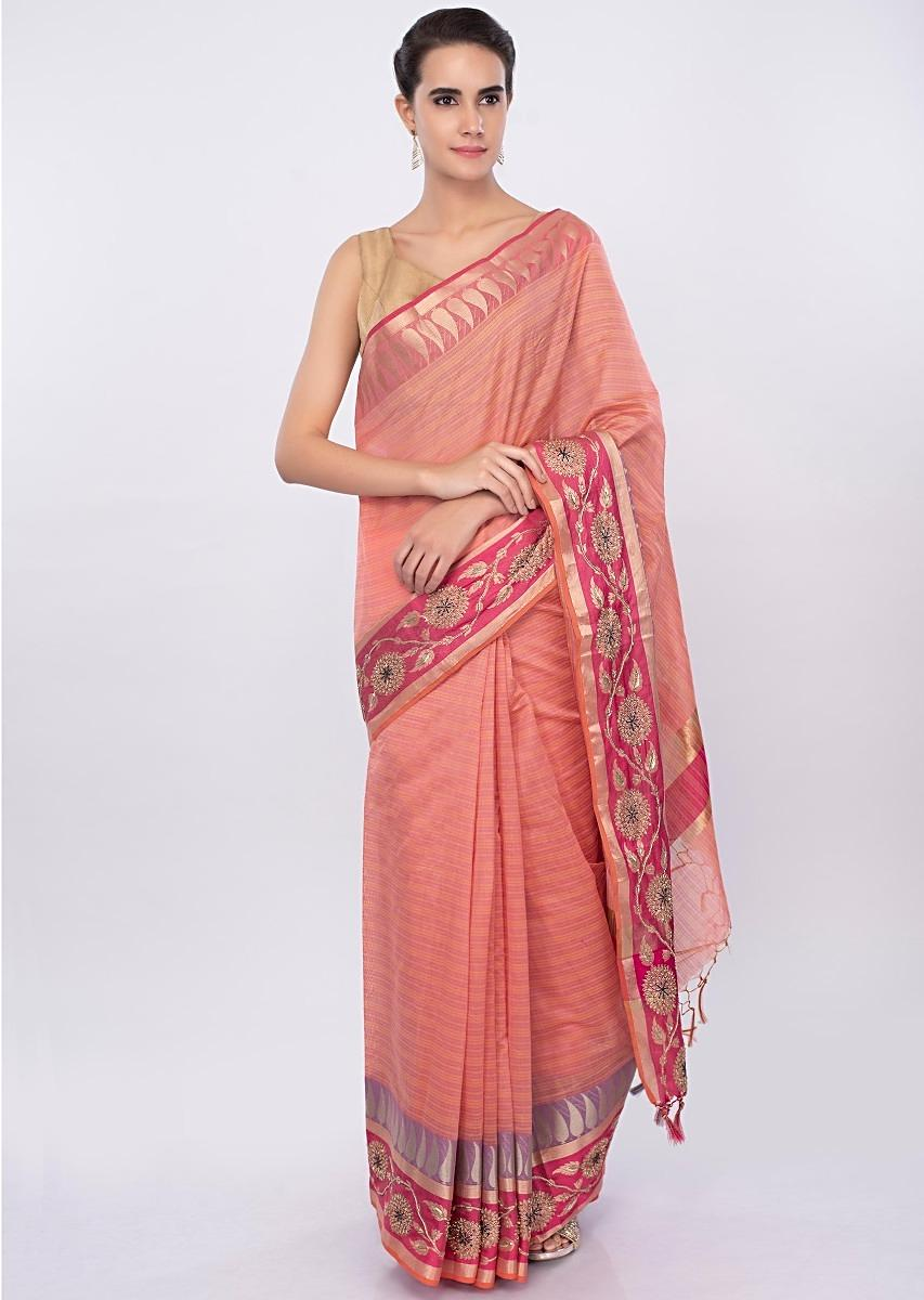 43c456e3e32e8 Pale peach linen saree with faded pink line only on Kalki