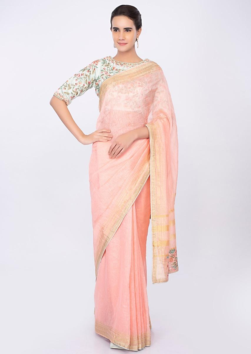 d755481e8ccac Pale pink linen saree with mint green floral embroidered blouse only on kalkiMore  Detail