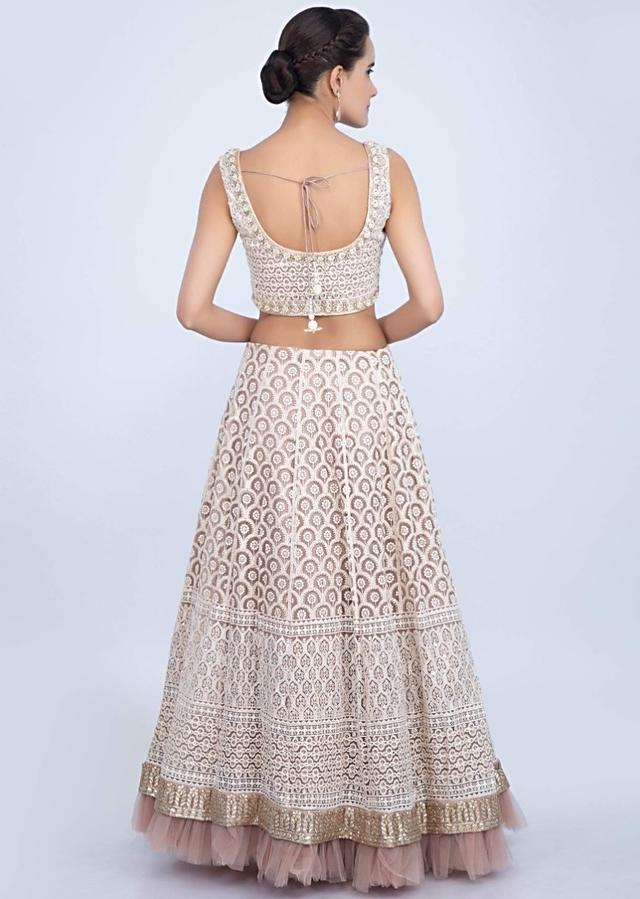 Pale Pink Lehenga Set In Net With Lucknowi Embroidery Online - Kalki Fashion