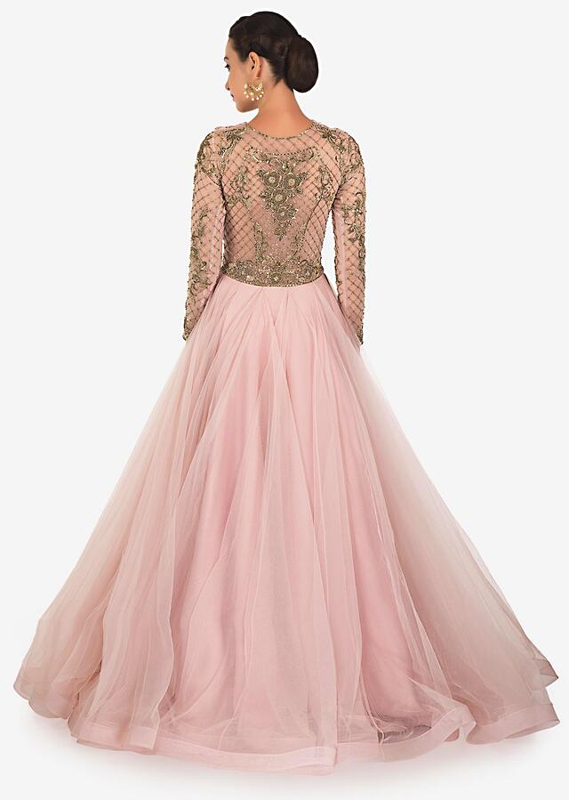 Pale Pink Gown In Net And Satin Lining Designed With Zardosi Online - Kalki Fashion