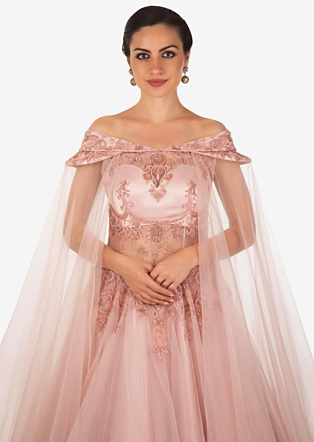 Pale Pink Net Gown Studded with Cut Dana, Moti and Sequins Only on Kalki