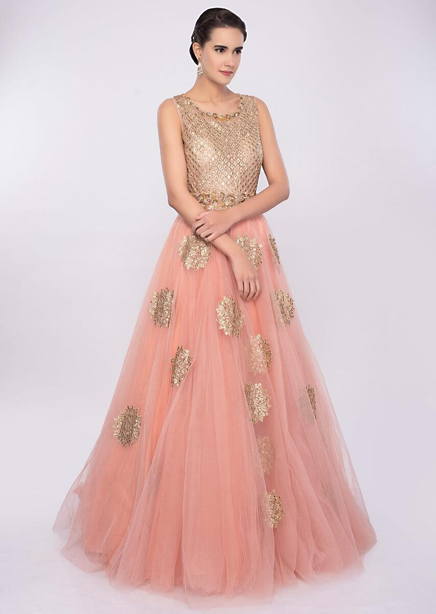 8feee6e7fd Pale pink voluminous pink net gown with butti only on Kalki