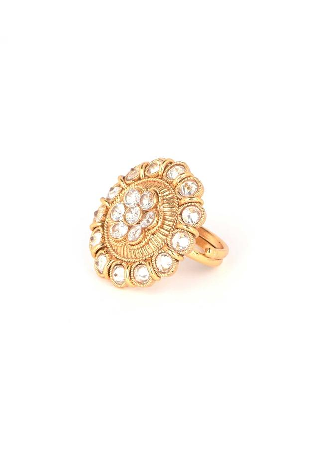 Ethnic Gold Plated Ring In Floral Pattern Adorned With Crystals Online - Kalki Fashion