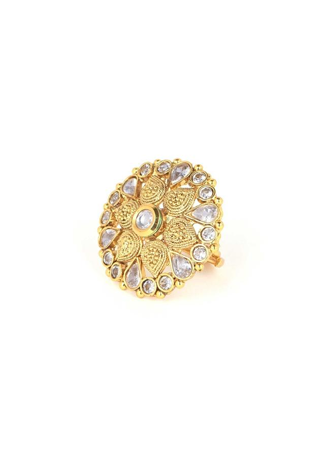Gold Plated Ring With Kundan And Crystals In Floral Pattern Online - Kalki Fashion