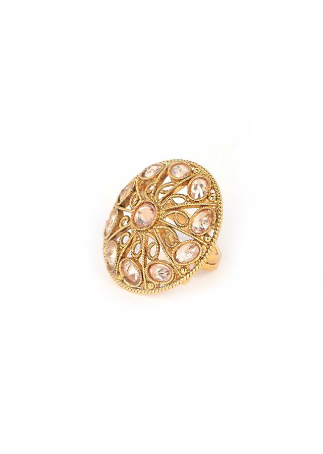 Gold Plated Round Ring With Silk Colored Crystals Online - Kalki Fashion