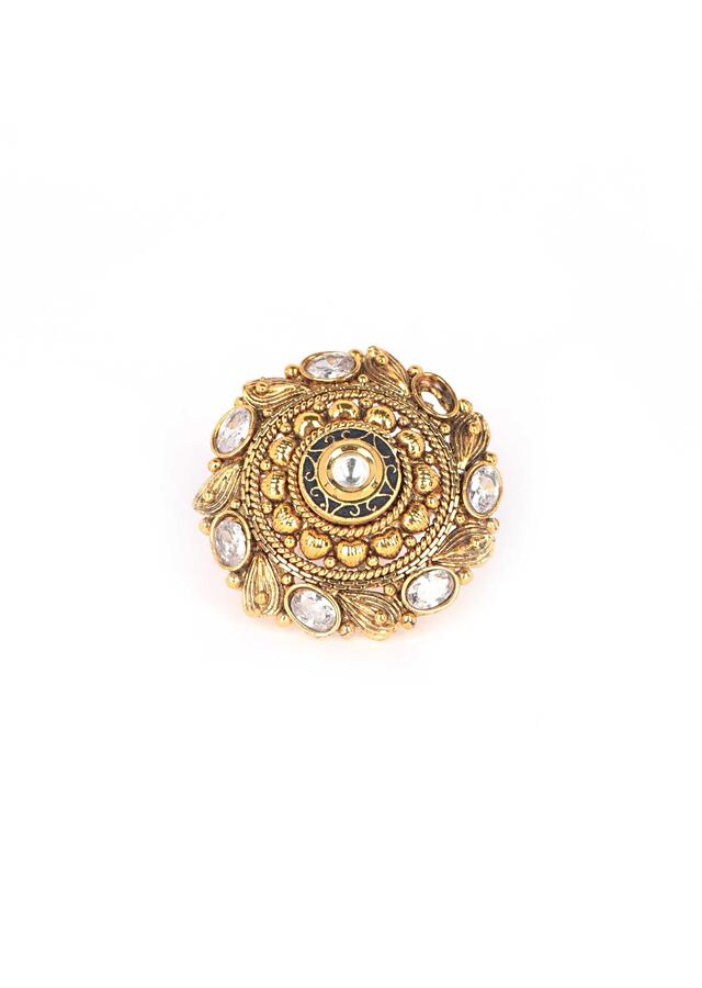 Gold plated carved round ring embellished with kundan and crystals only on Kalki
