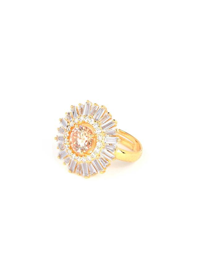 Silk colored crystal, stones and bugle beads studded gold plated ring only on Kalki