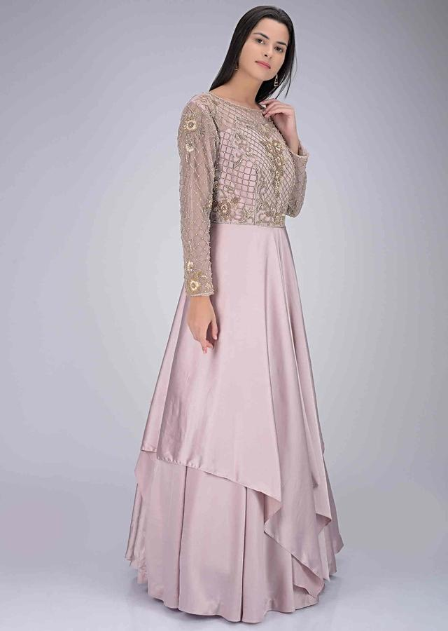 Pale lilac satin gown with embroidered net bodice only on Kalki