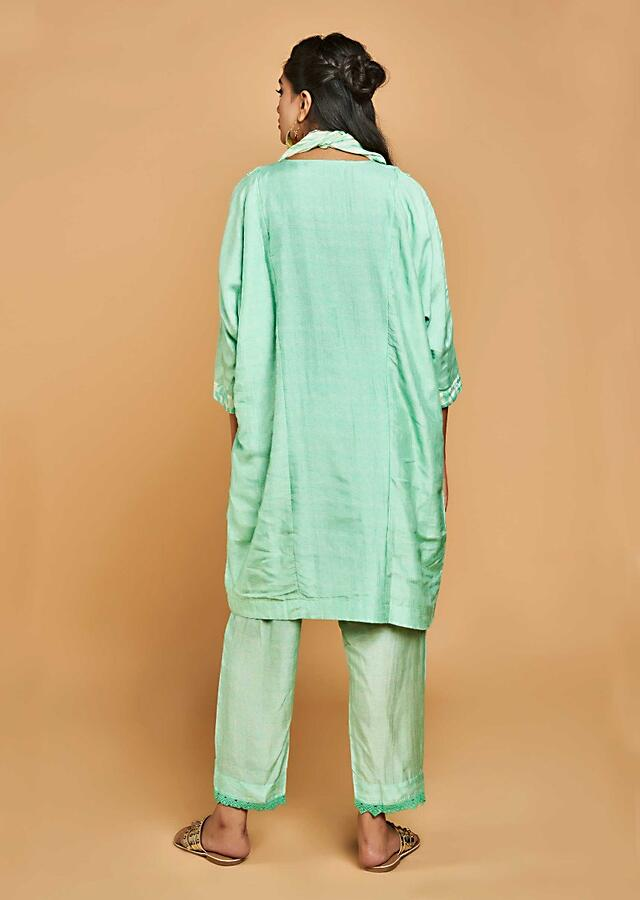 Paradise Green Straight Cut Suit In Cotton With Self Print And Crochet Lace Online - Kalki Fashion