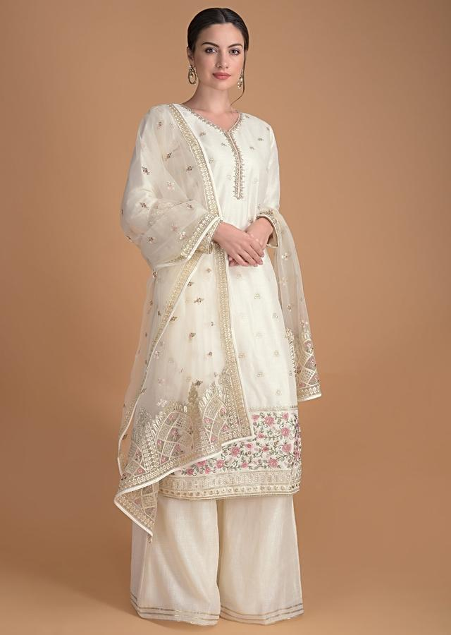 Parchment White Palazzo Suit With Embroidered Buttis  Online - Kalki Fashion