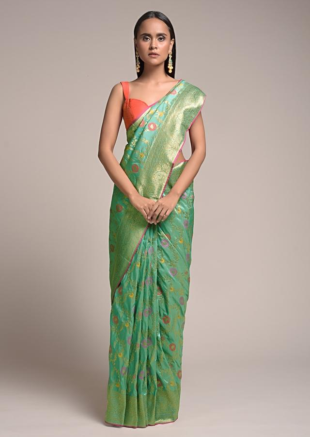 Paris Green Saree In Silk With Colorful Woven Floral Jaal And Golden Floral Border Online - Kalki Fashion