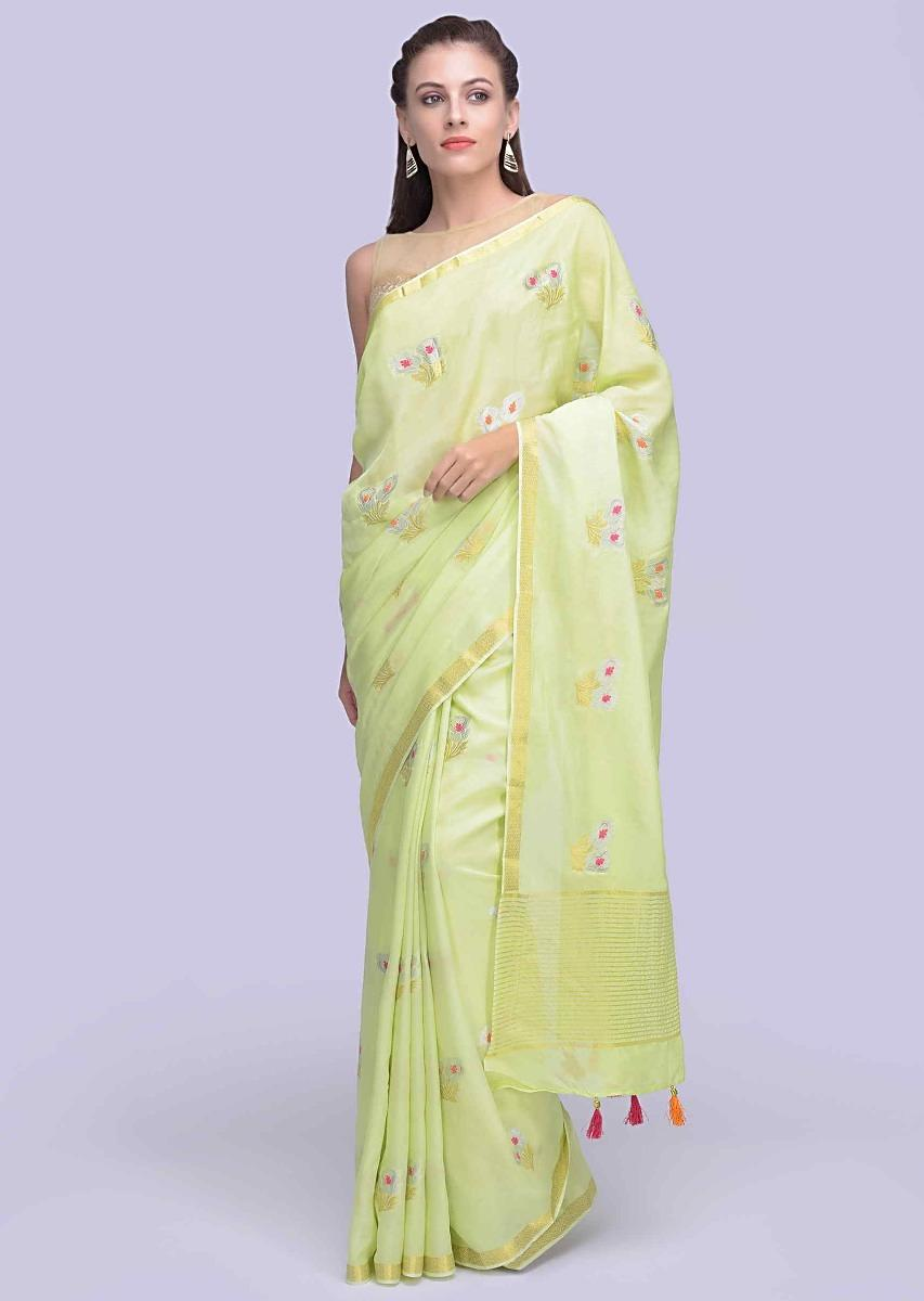 9e609d5d73 Parrot green dola silk sarees with weaved floral butti only on KalkiMore  Detail