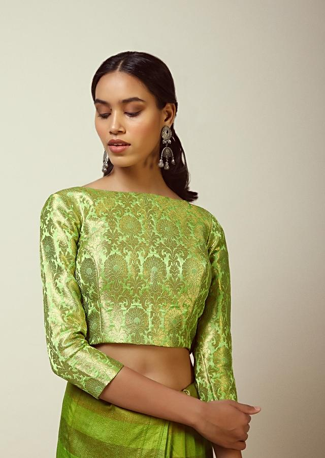 Parrot Green Blouse In Brocade Silk With Woven Floral Motifs All Over And 3/4Th Sleeves Online - Kalki Fashion