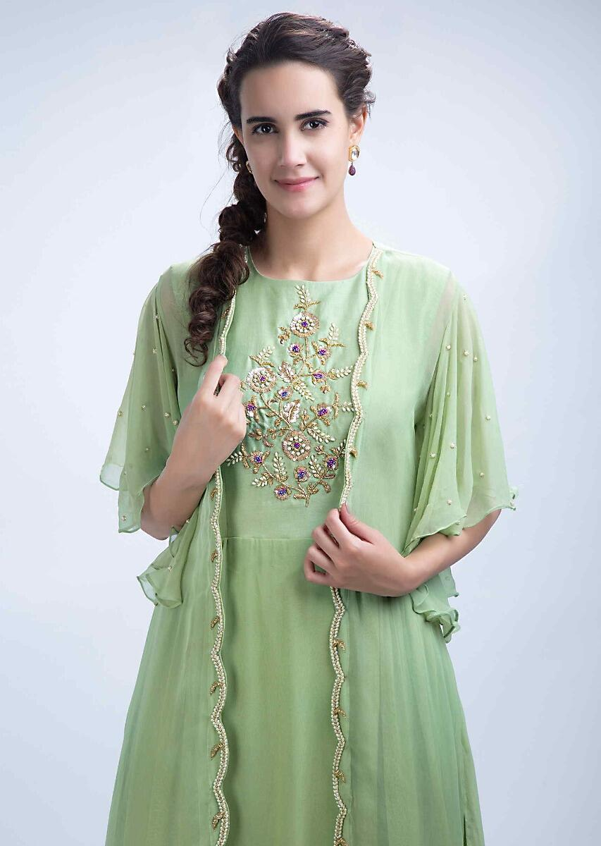 56854ffe1 Parrot green center embroidered tunic dress with a long jacket with frill  sleeves only on Kalki