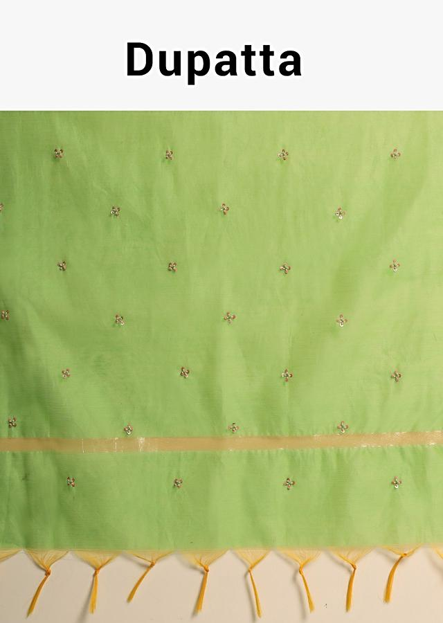 Parrot Green Dupatta In Silk With Sequins Embroidered Floral Buttis Online - Kalki Fashion