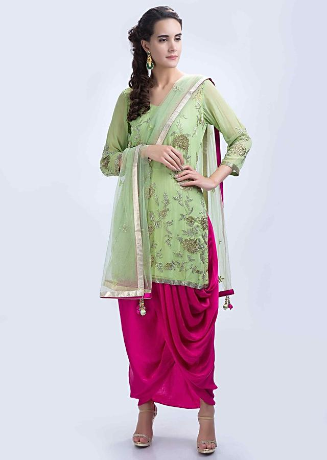 Parrot Green Short Suit With Embroidery Work And Contrasting Fuchsia Pink Wrap Around Dhoti Skirt Online - Kalki Fashion