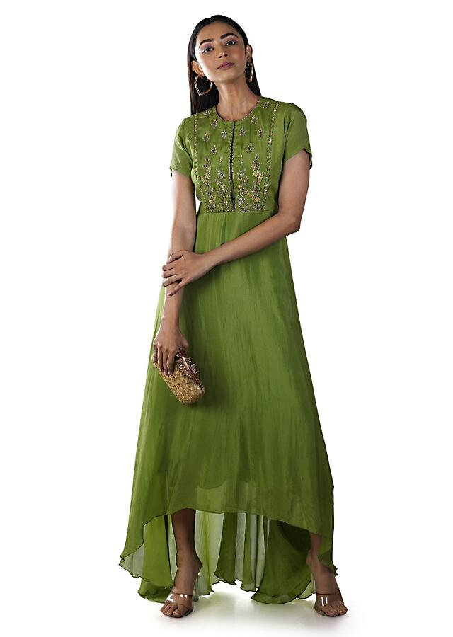 Parrot Green Hand Embroidered Tunic With A Stitchlined Yoke Online - Kalki Fashion