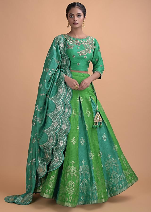 Parrot Green Lehenga In Brocade Silk With Peacock Green Godets Online - Kalki Fashion