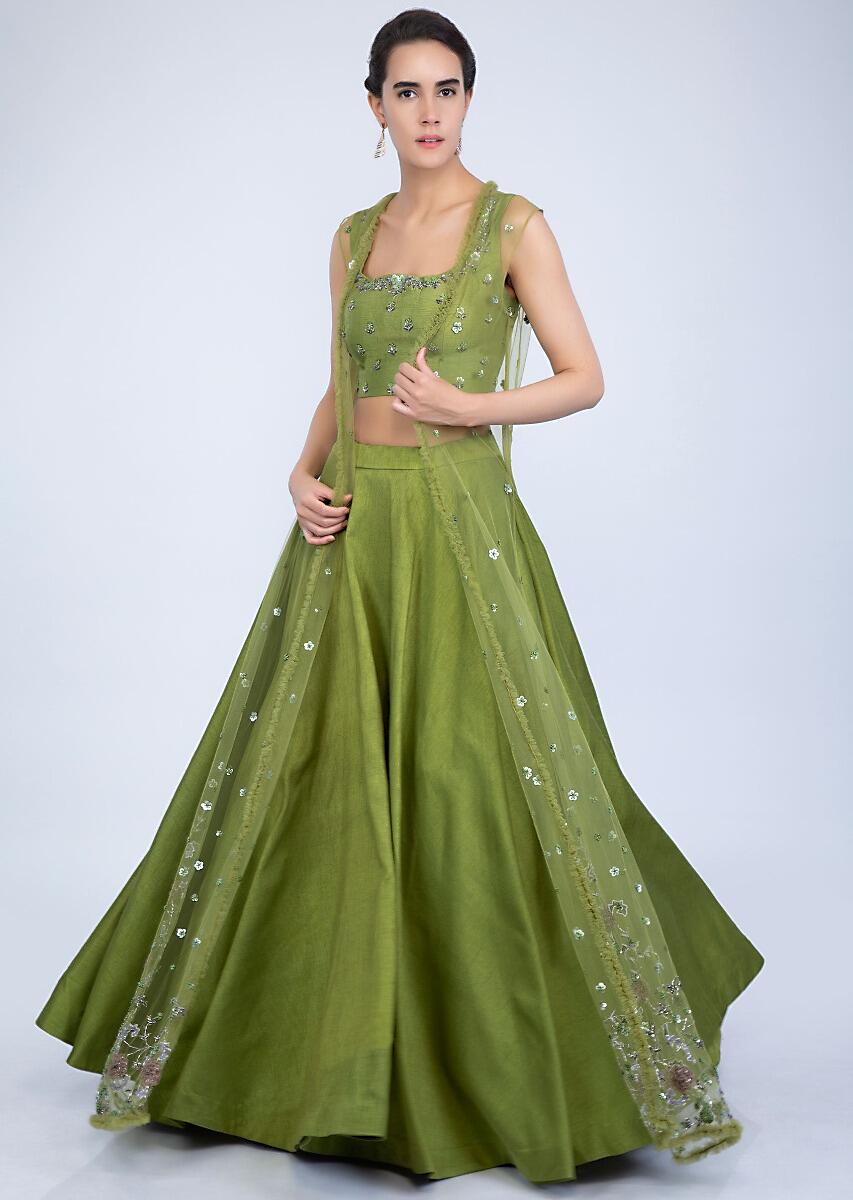 783bf1fc4ce0d Parrot green raw silk lehenga and crop top with a matching heavy  embroidered long net jacket only on KalkiMore Detail