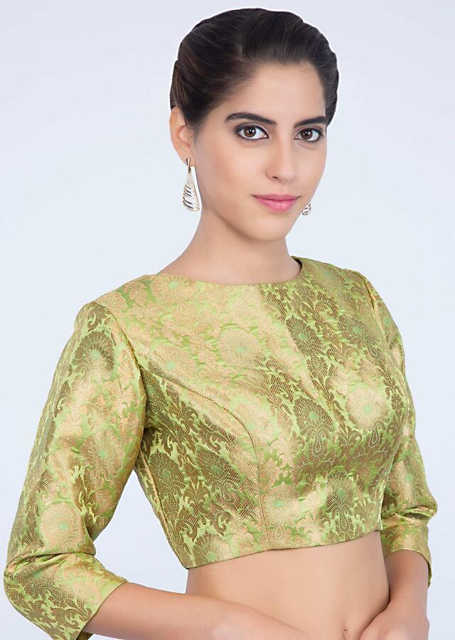 Parrot Green Blouse In Silk With Round Neck Neckline And Weaved Butti Online - Kalki Fashion