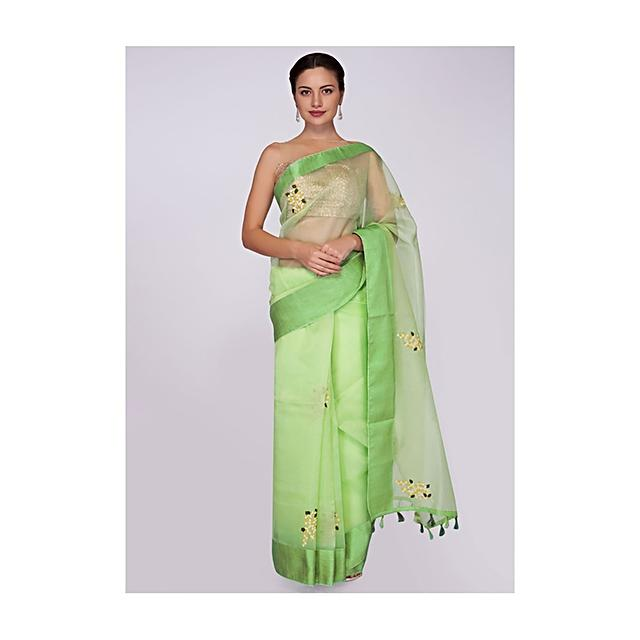 Parrot green saree organza saree in floral butti  only on Kalki