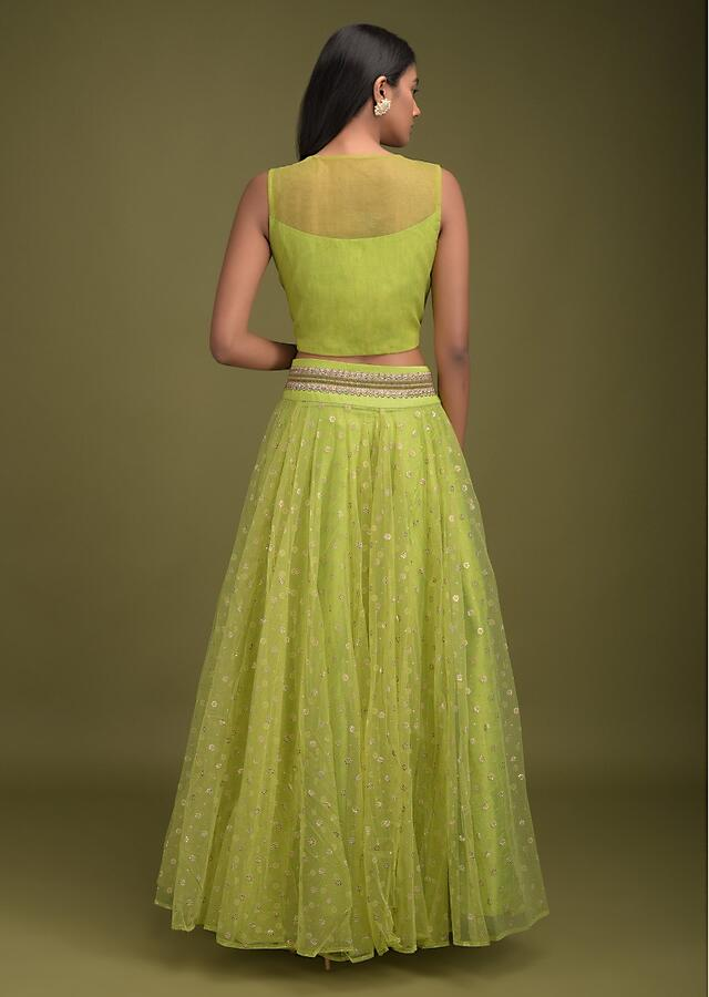 Parrot Green Skirt In Net With Foil Printed Floral Buttis And Embroidered Crop Top Online - Kalki Fashion