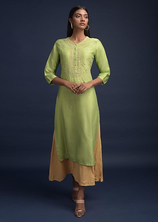 Parrot Green Straight Cut Kurti In Cotton With Thread And Zardozi Embroidered Floral Pattern Online - Kalki Fashion