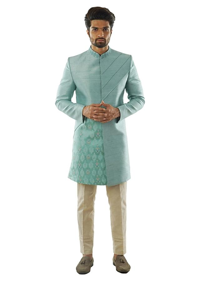Pastel Blue Achkan Set In Raw Silk With Cord Piping Detail And Hand Embroidery Online - Kalki Fashion