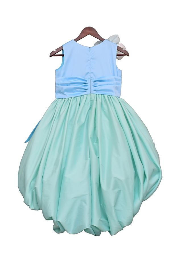 Pastel Blue And Sea Green High Low Gown With Bow And 3D Flower By Fayon Kids