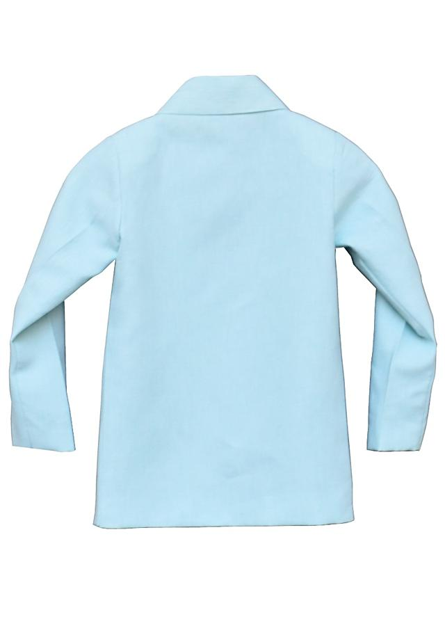 Pastel Blue Coat In Linen With Peppa Pig By Fayon Kids