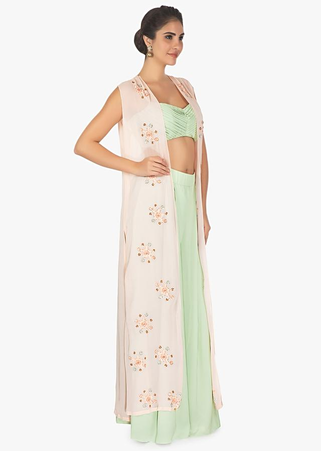 Pastel Blue Palazzo Pants And Crop Top Paired With A Baby Pink Overlay Embellished Jacket Online - Kalki Fashion
