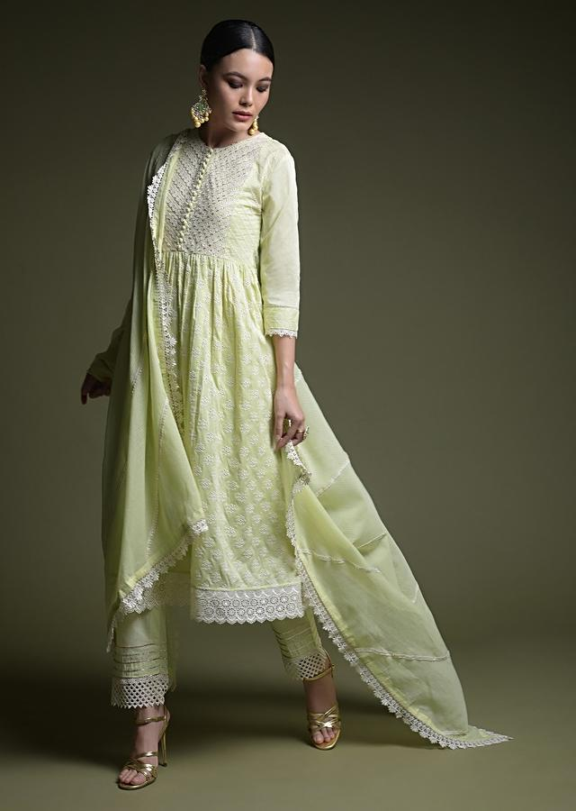 Pastel Green A Line Suit In Cotton With Thread Cut Work Embroidered Buttis Online - Kalki Fashion