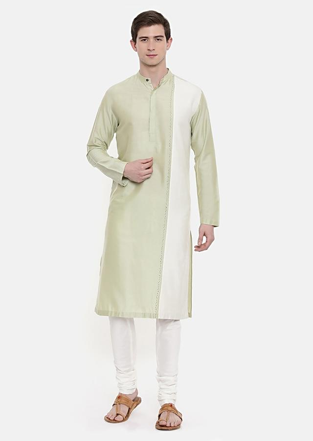 Pastel Green And Ivory Kurta Set In Cotton Silk With Hand Embroidered Thread Work By Mayank Modi