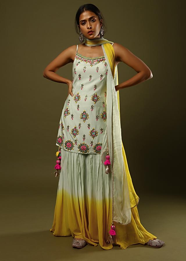 Pastel Green And Yellow Shaded Sharara Suit With Colorful Beads, Sequins And Thread Embroidered Butti Design Online - Kalki Fashion